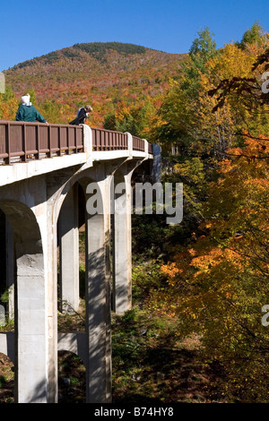 People on a bridge in Franconia Notch State Park New Hampshire - Stock Photo