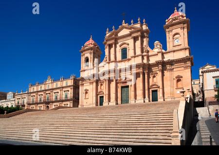 San Nicolo, Noto Cathedral, Piazza Municipio, Noto, Sicily - Stock Photo