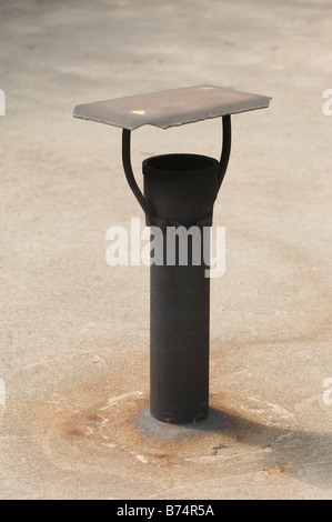 Small metal chimney on roof Lebanon Middle East - Stock Photo