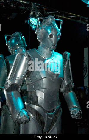 a cyberman (dr.who) character at an exhibition at lands end in cornwall,uk - Stock Photo