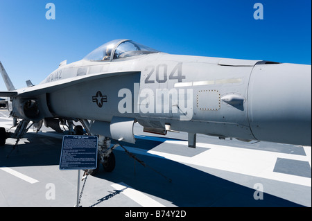 F/A-18 Hornet fighter jet on deck of USS Yorktown aircraft carrier, Patriots Point Naval Museum, Charleston, South - Stock Photo