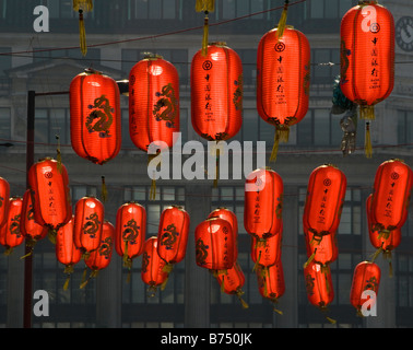 Colourful lanterns in Chinatown, London, UK - Stock Photo