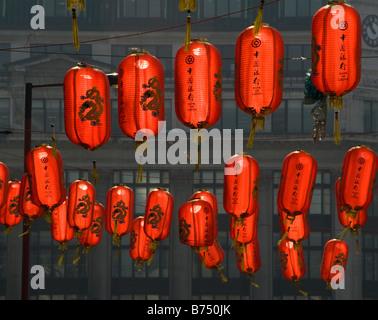 Colourful lanterns in Chinatown, London, UK - Stock Photo