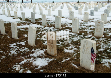 Headstones, Custer National Cemetery, Little Bighorn Battlefield National Monument, Crow Agency, Montana. - Stock Photo