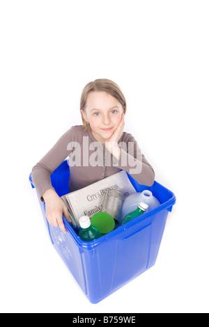 Recycling box with the girl inside, Winnipeg, Manitoba - Stock Photo