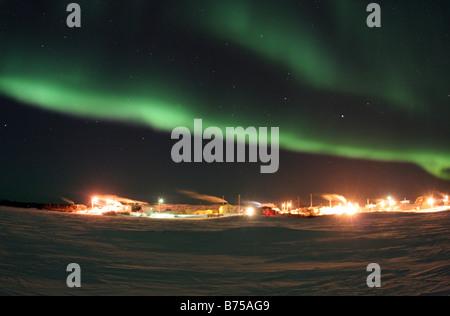 Dramatic aurora borealis, Great Slave Lake, Dettah, Northwest Territories, Canada - Stock Photo