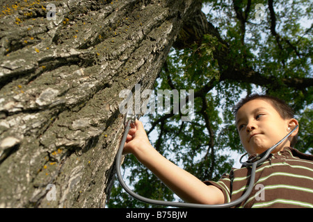 Seven year old boy with stethescope placed on tree, Winnipeg, Canada - Stock Photo