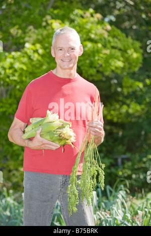 Senior man holding ears of corn and carrots, Winnipeg, Canada - Stock Photo