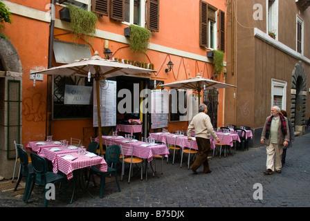 Restaurant exterior Trastevere district Rome Italy Europe - Stock Photo