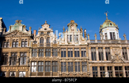 Facades of historic old buildings in famous Grand Place square  Brussels Belgium 2009 - Stock Photo