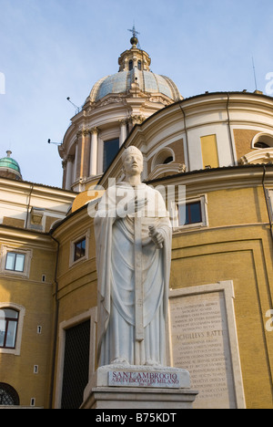 Statue of San Carlo in front of San Carlo al Corso church at Piazza Augusto Imperatore in centro storico Rome Italy - Stock Photo