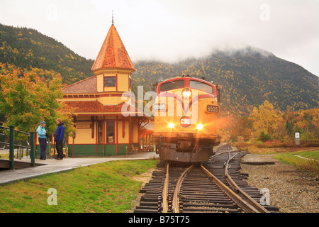 Conway Scenic Railroad at Crawford Notch Depot, North Conway, New Hampshire, USA - Stock Photo