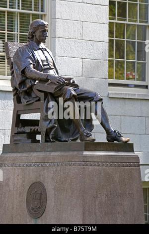 John Harvard statue in Harvard Yard at Harvard University in Cambridge Greater Boston Massachusetts USA - Stock Photo