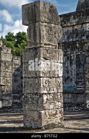 CHICHEN ITZA, Mexico - Templo de los Guerreros (Temple of Warriors) at the ancient Mayan ruins at Chichen Itza, - Stock Photo