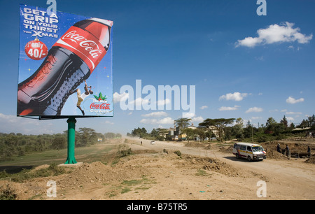 Commercial billboards coca cola are increasing in kenya as the economy is getting stronger - Stock Photo