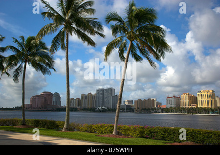 Skyline of West Palm Beach Florida as seen from Palm Beach across Lake Worth - Stock Photo