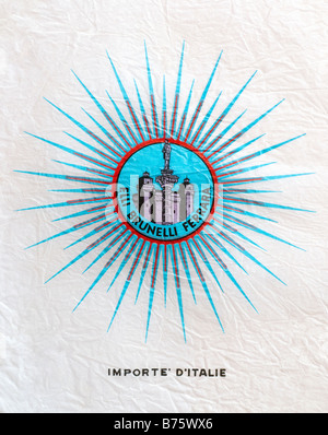 Printed ephemera / Citrus fruit wrapper from Italy - star, column and buildings illustration on tissue paper. - Stock Photo