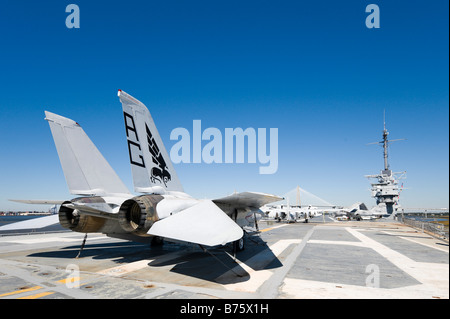 Grumman F-14A Tomcat on deck of USS Yorktown aircraft carrier, Patriots Point Naval Museum, Charleston - Stock Photo