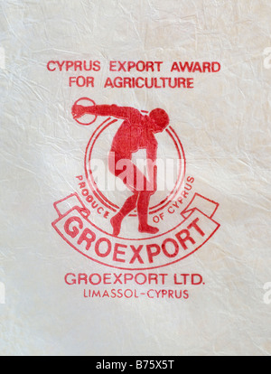 Printed ephemera / Citrus fruit wrapper from Cyprus - Discus Thrower illustration on tissue paper. - Stock Photo