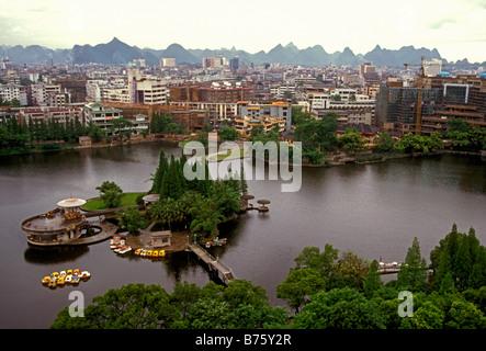 Banyan Cedar Lake Guilin Guangxi Province China Asia - Stock Photo