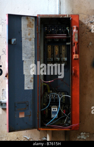 industrial fuse box b7615h old empty fuse box stock photo, royalty free image 48111537 alamy industrial fuse box at beritabola.co