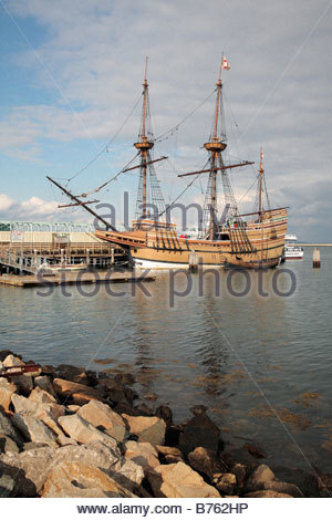 The Mayflower II sailing ship viewed from the shore in Plymouth Massachusetts - Stock Photo