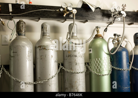 Compressed gases for atomic absorption aAlysis - Stock Photo