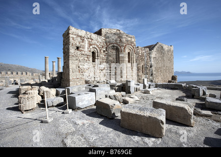 Part of the Acropolis Lindos Island of Rhodes Greece - Stock Photo
