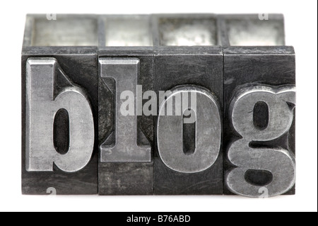 The word Blog in old letterpress printing blocks isolated on a white background - Stock Photo