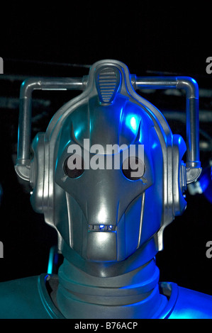 a portrait of a cyberman (dr.who) character at an exhibition at lands end in cornwall,uk - Stock Photo