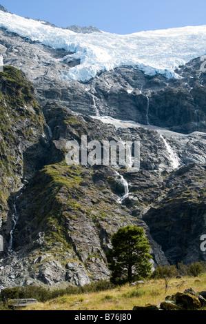 The Rob Roy glacier, Mount Aspiring National Park, South Island, New Zealand - Stock Photo