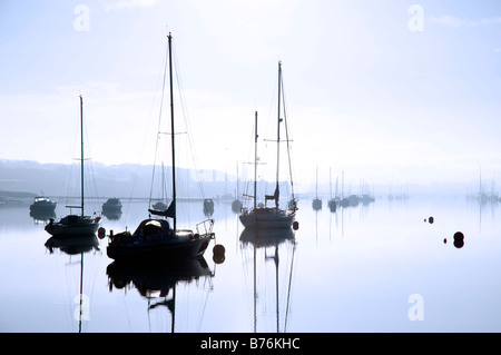 Yachts on River Medina, Cowes, Isle of Wight, England - Stock Photo