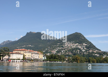 The town of Lugano on the shores of Lake Lugano (Lago di Lugano) in the canton of Ticino in Switzerland. View taken - Stock Photo