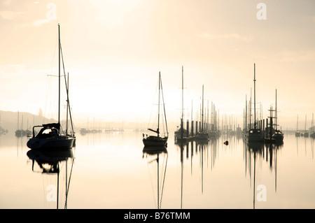 Yachts on River Medina, Cowes, Isle of Wight, England, UK, GB. - Stock Photo