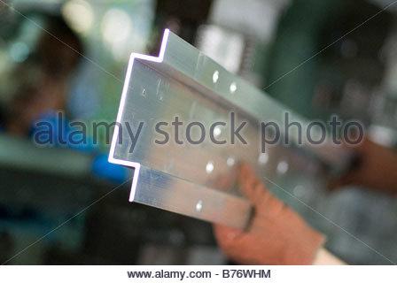 aluminum metal shape stamping factory facility - Stock Photo