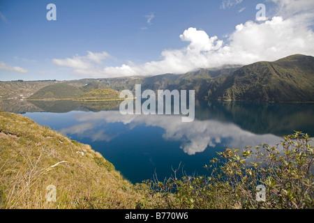 Cuicocha caldera and Crater lake at the foot of Cotacatchi Volcano in the Cordillera Occidental of Ecuadorian Andes. - Stock Photo