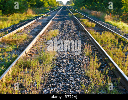 Two railway lines perspective view - Stock Photo
