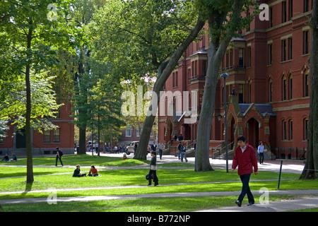 Harvard Yard at Harvard University in Cambridge Greater Boston Massachusetts USA - Stock Photo