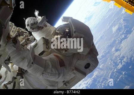 Astronaut participates in extravehicular activity.