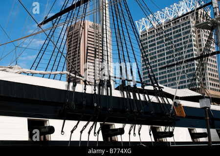A detailed view of the USS Constellation with cannons at Baltimore Maryland's Inner Harbor - Stock Photo