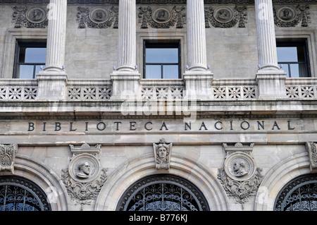 Front, Biblioteca Nacional, national library, Madrid, Spain, Europe - Stock Photo