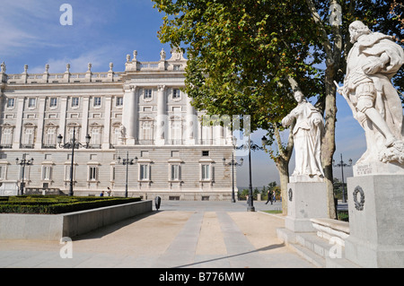 Monument, kings, Plaza de Oriente, Palacio Real, royal palace, Madrid, Spain, Europe - Stock Photo