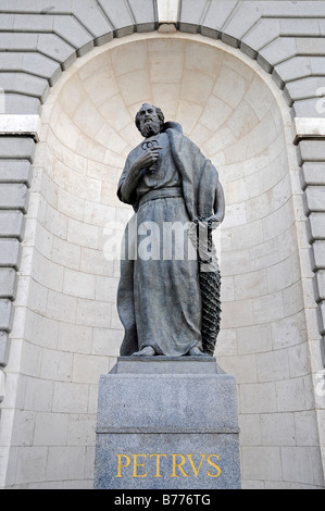 Statue of Saint Peter with keys, Catedral de Nuestra Senora de la Almudena Cathedral, Madrid, Spain, Europe - Stock Photo