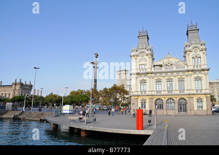 Bridge, port authority, Rambla de Mar, Port Vell, Moll de Espana, Barcelona, Catalonia, Spain, Europe - Stock Photo