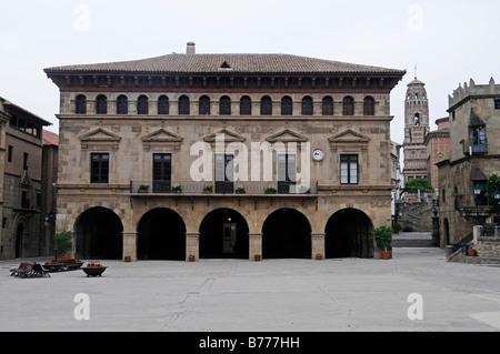 Placa Mayor, Poble Espanyol, Spanish village, open-air museum, Montjuic, Barcelona, Catalonia, Spain, Europe - Stock Photo