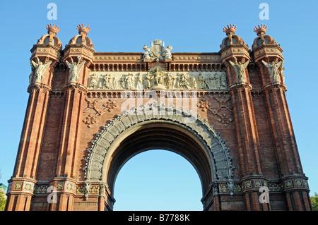 Arc de Triomf, Triumphal Arch, Barcelona, Catalonia, Spain, Europe - Stock Photo