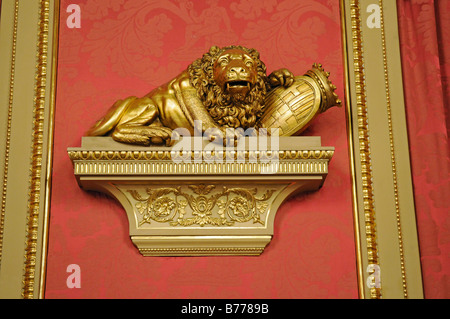 Lion statue, the Golden Parlour, hall, Palacio de la Llotja de Mar, former stock exchange, Barcelona, Catalonia, - Stock Photo