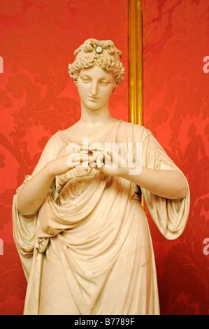Woman, alabaster, sculpture, the Golden Parlour, hall, Palacio de la Llotja de Mar, former stock exchange, Barcelona, - Stock Photo