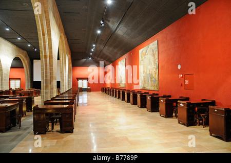 Bureaus, parlour, hall, Palacio de la Llotja de Mar, former stock exchange, Barcelona, Catalonia, Spain, Europe - Stock Photo