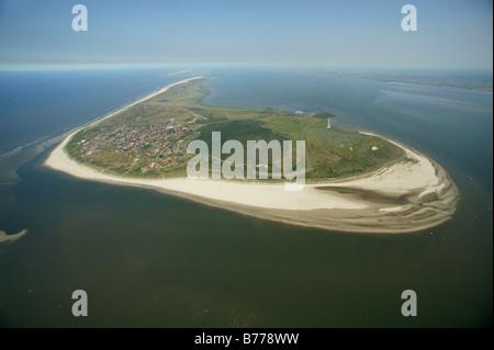 Aerial photograph, beach, Langeoog, East Frisian Islands, North Sea, mud flats, Wattenmeer, Lower Saxony, Germany, - Stock Photo